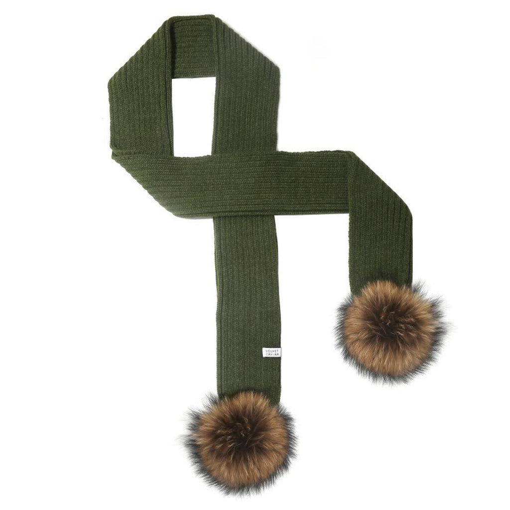 LUX FUR POM SCARF OLIVE WITH CHESTNUT FUR