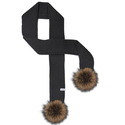 LUX FUR POM SCARF BLACK WITH CHESTNUT FUR