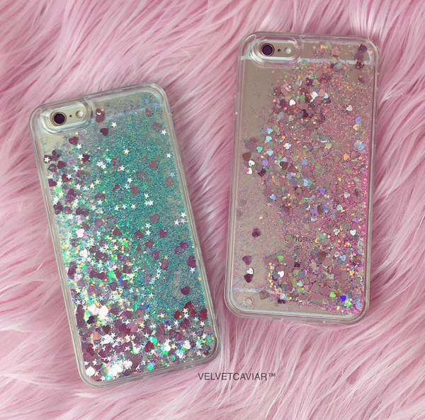 Rose Gold Hearts Glitter iPhone Case