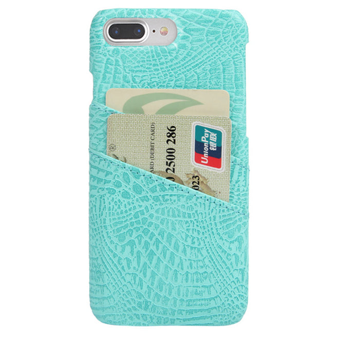 Croc Phone Card Holder Case Aqua by Velvet Caviar