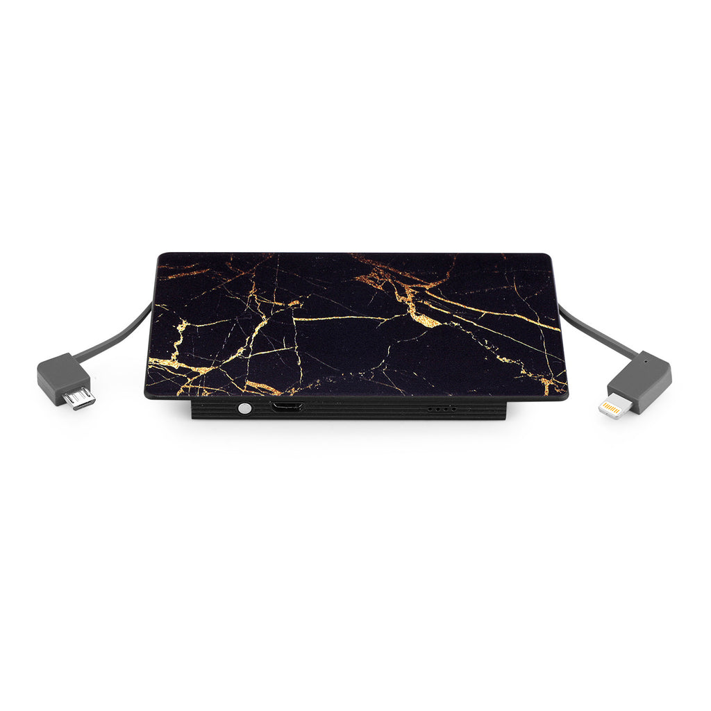 4000 mAh Portable Power Bank Phone Charger - Black & Gold Marble