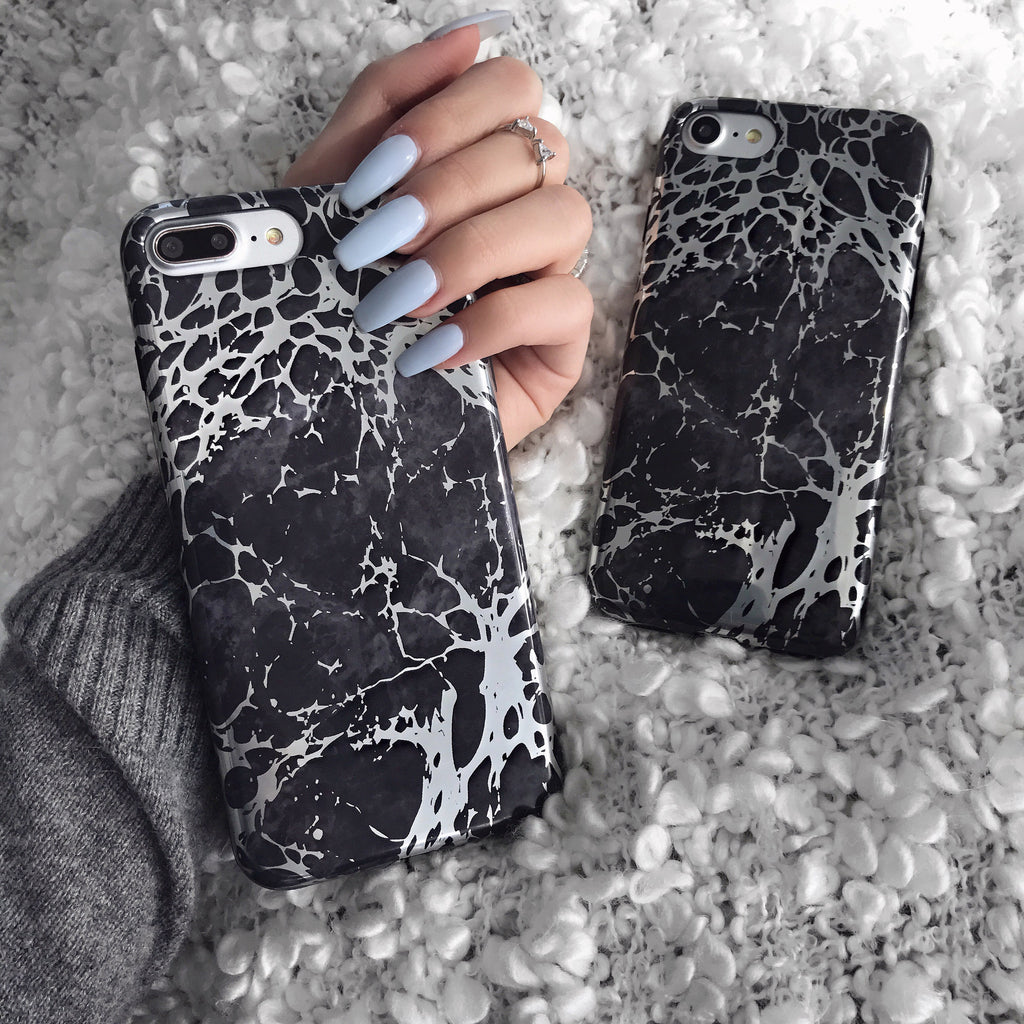 Black Marble Silver Chrome iPhone Case
