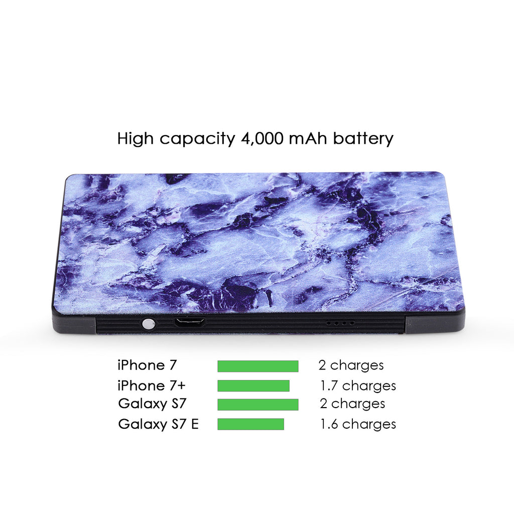 4000 mAh Portable Power Bank Phone Charger - Blue Marble