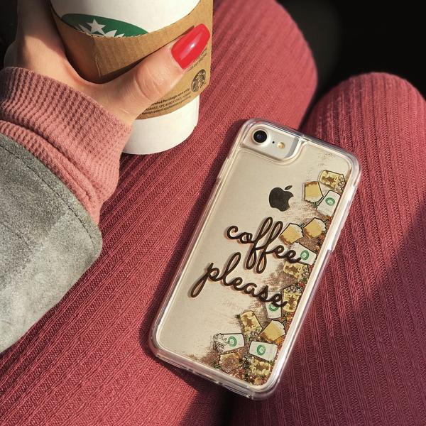 more photos 2d1a8 67b5c Coffee Please Glitter iPhone Case