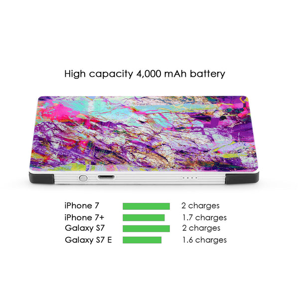 4000 mAh Portable Power Bank Phone Charger - Electric Rainbow