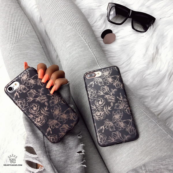 Chrome Rose Gold Floral iPhone Case