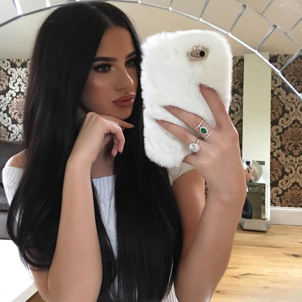 COZY FUR PHONE CASE WHITE