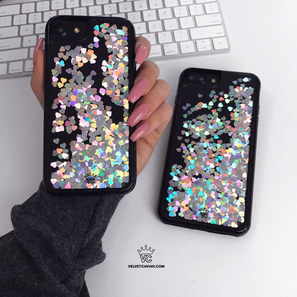Holo Hearts Black iPhone Case