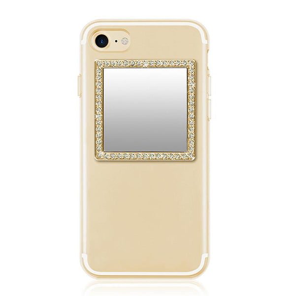 Gold Square Crystals Phone Mirror