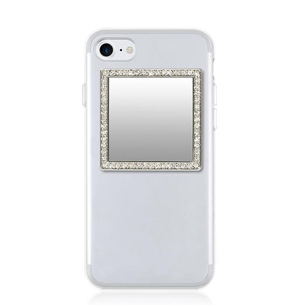 Silver Square Crystals Phone Mirror