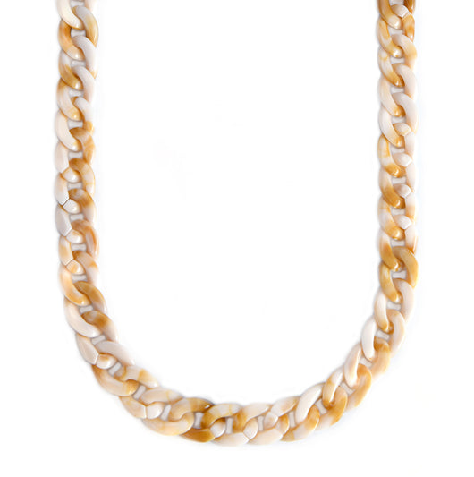 Mask Chain Necklace - 19mm Curb in Bone