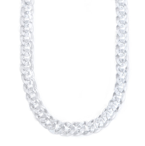 Mask Chain Necklace - 19mm Curb in Clear Lucite