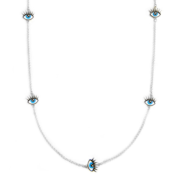Mask Chain Necklace - 3mm Evil Eye in Silver