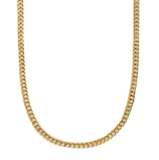 Mask Chain Necklace - 5mm Curb in Gold