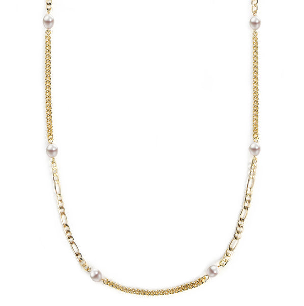Mask Chain Necklace - 5mm Mixed Pearl in Gold