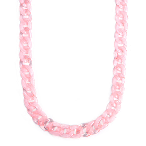 Mask Chain Necklace - 19mm Curb in Pink Quartz