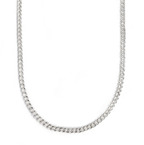 Mask Chain Necklace - 5mm Curb in Silver