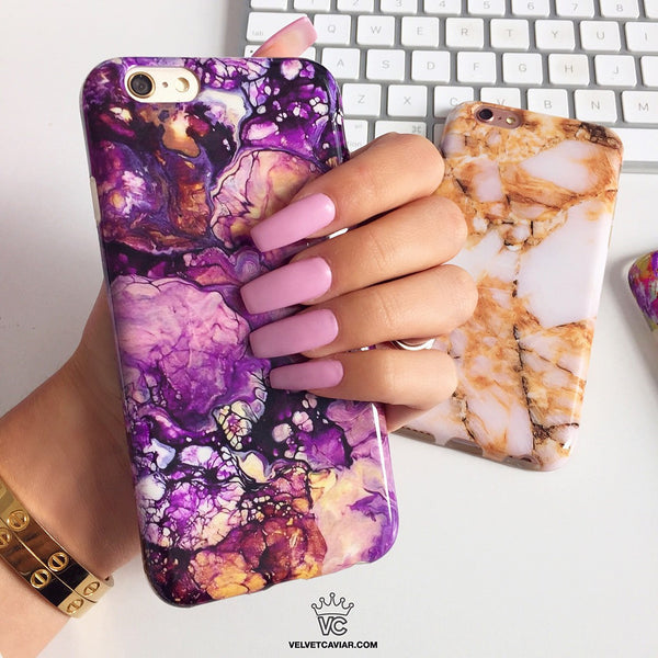 Purple Galaxy Marble iPhone Case