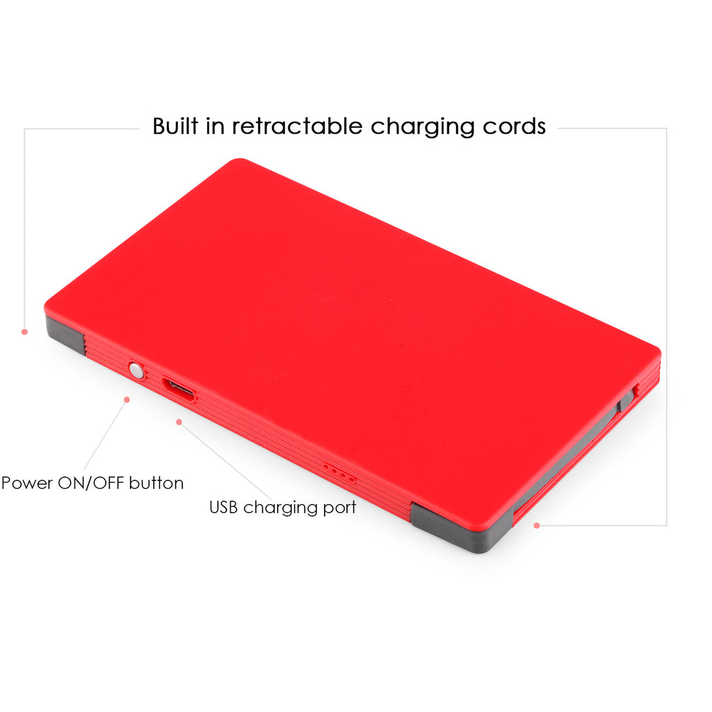 4000 mAh Portable Power Bank Phone Charger - Red