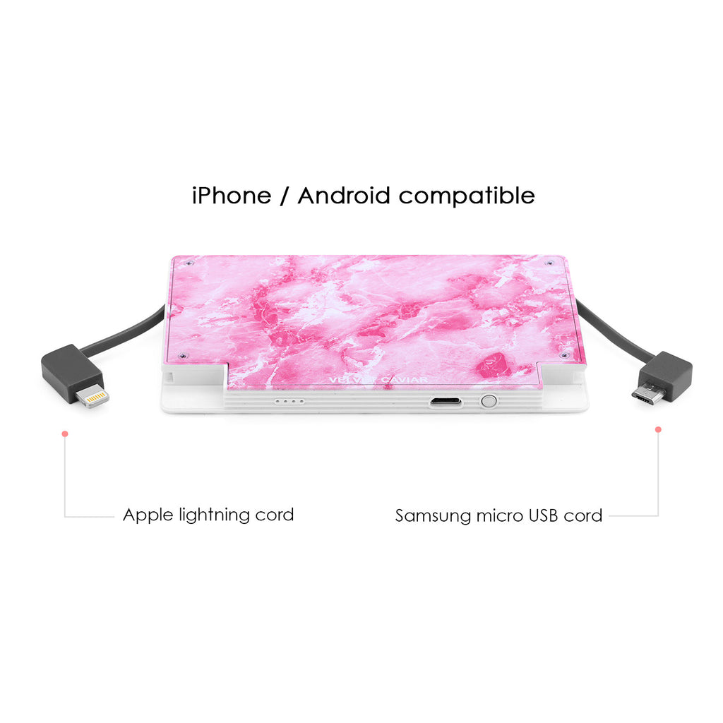 4000 mAh Portable Power Bank Phone Charger - Pink Marble