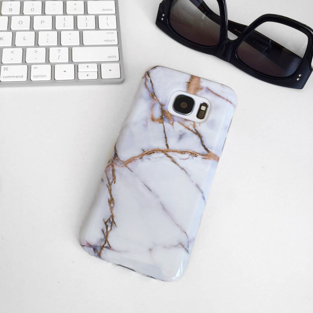White & Gold Marble Samsung S7 Case