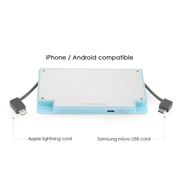 4000 mAh Portable Power Bank Phone Charger - Sky Blue