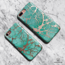 Turquoise Rose Gold Chrome iPhone Case