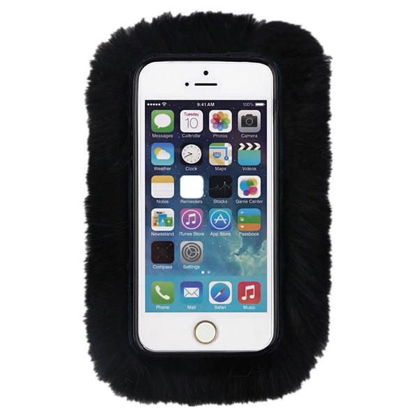 COZY FUR PHONE CASE BLACK