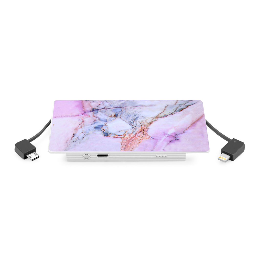 4000 mAh Portable Power Bank Phone Charger - Violet Sky Marble