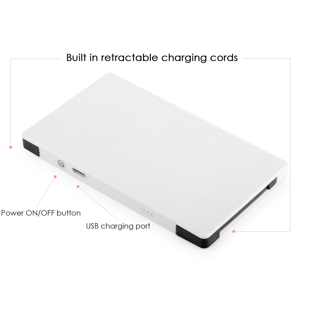 4000 mAh Portable Power Bank Phone Charger - White