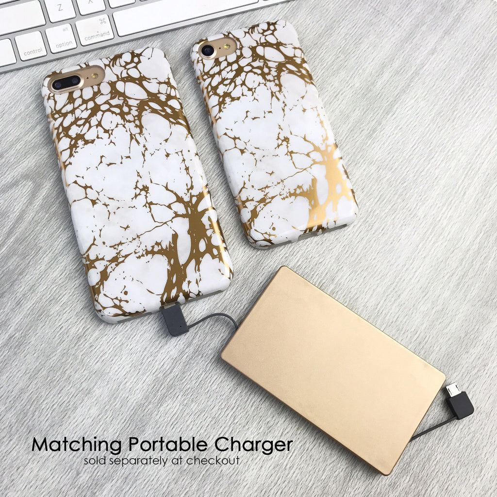 White Marble Gold Chrome iPhone Case