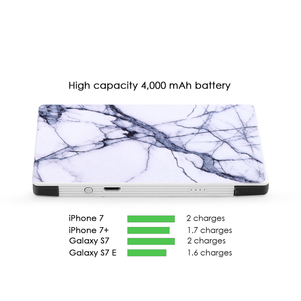 4000 mAh Portable Power Bank Phone Charger - White & Gray Marble