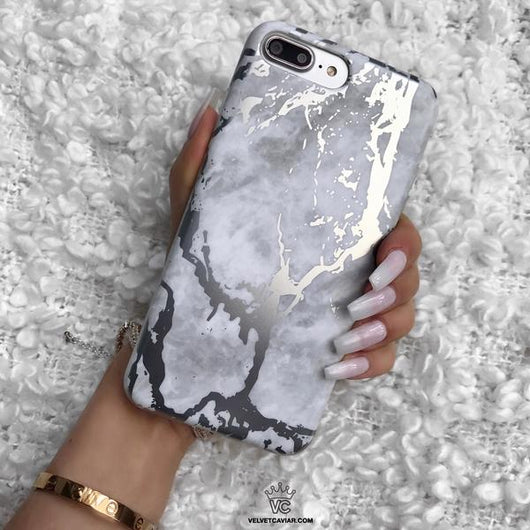 best value 48ff4 ad32c White Marble Silver Chrome iPhone Case