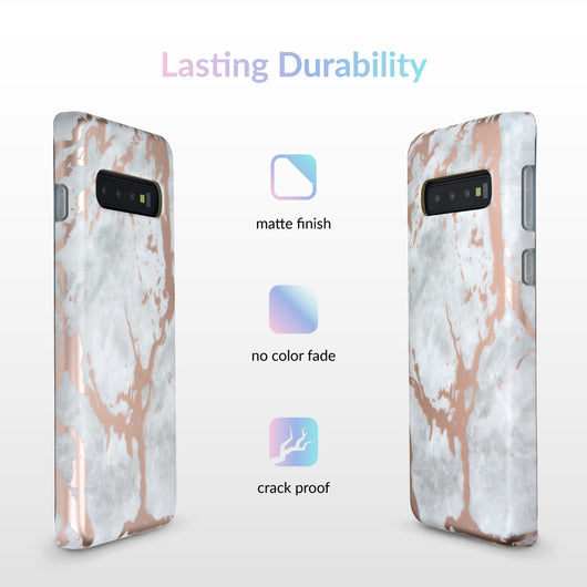 White Marble Rose Gold Chrome Samsung Galaxy Case