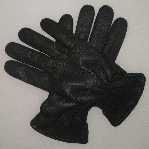 Mens peccary leather unlined gloves with elastic wrist band
