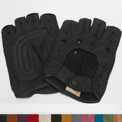 Mens Classic Peccary Leather Short-finger Padded Driving Gloves