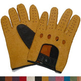 Mens 2-Tone Peccary Leather Driving Gloves