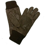 Mens Baby Alpaca-lined and cuffed Peccary Leather Gloves
