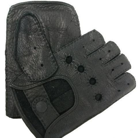 Mens Classic Peccary Leather Short-finger Driving Gloves - SALE