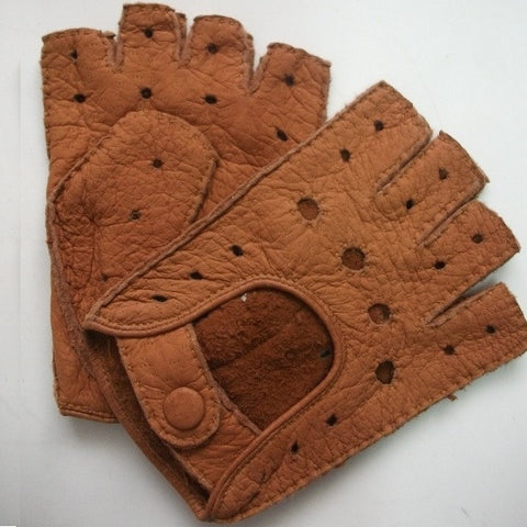 Ladies Peccary Leather Short Finger Driving Gloves