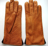 Lady's peccary leather contrast lining gloves