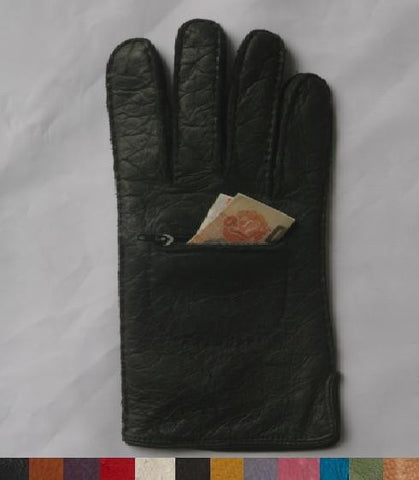 Lady's Peccary leather long finger gloves with pocket and zip
