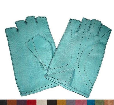 Lady's unlined peccary leather half finger gloves with contrast stitching