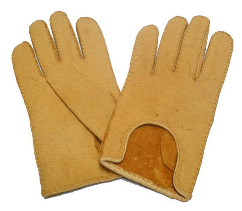 Lady's Peccary Leather unlined gloves with curvy opening-aqua-7 - M