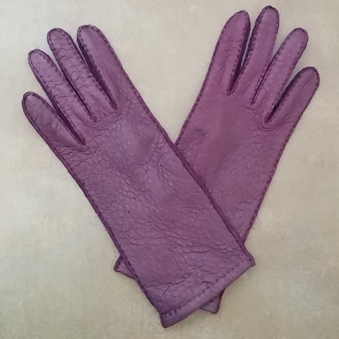 Ladies Unlined Classic Peccary Leather Purple Long Gloves