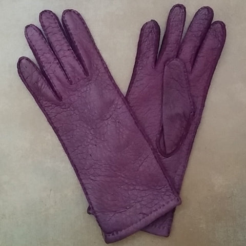 Lady's long classic purple unlined peccary leather gloves