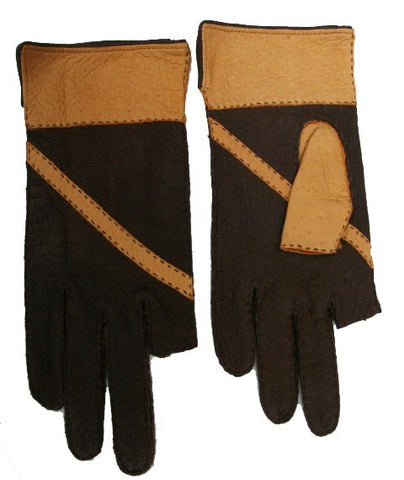 Men's peccary leather full finger and half finger gloves assorted colors.