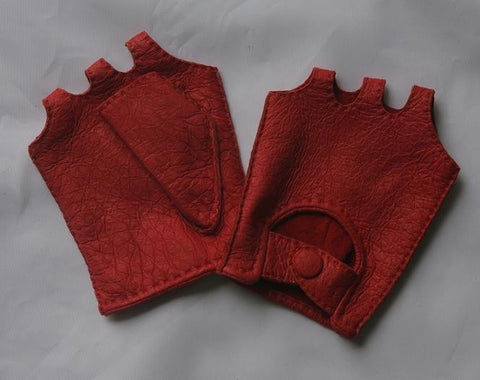 Lady's fashion fingerless peccary leather gloves