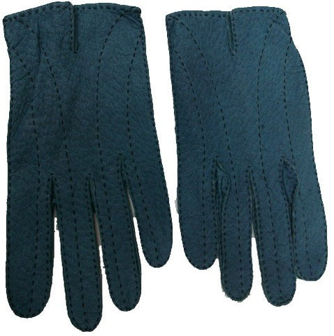 Men's Unlined peccary leather long finger gloves.