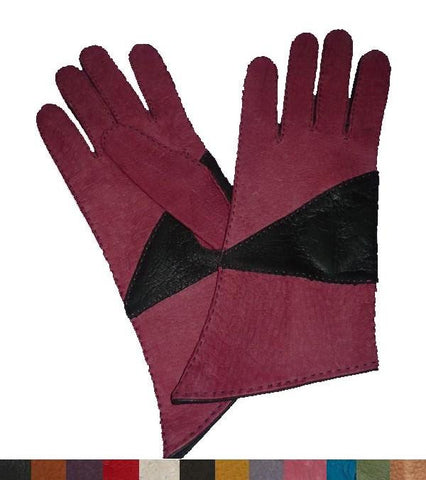 Lady's diagonal cut peccary leather gloves